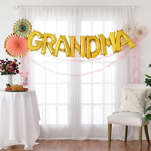 DIY Air-Filled Gold & Pastel Grandma Balloon Phrase Banner Kit, 13in Letters, 12pc Image #1