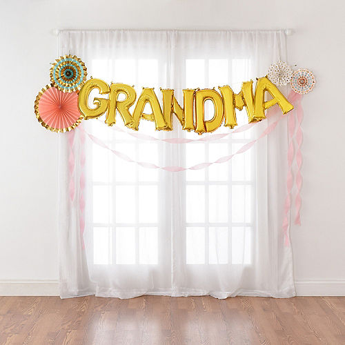 DIY Air-Filled Gold & Pastel Grandma Balloon Phrase Banner Kit, 13in Letters, 12pc Image #2