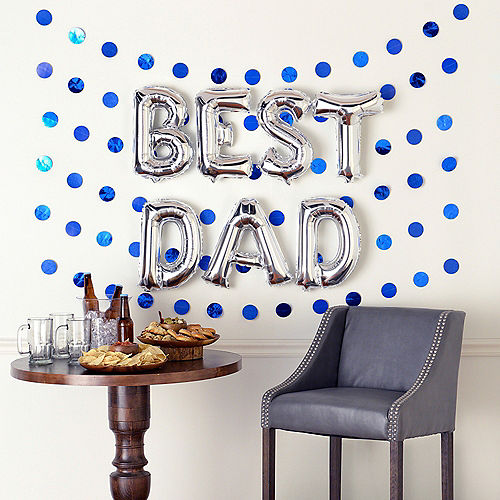 Air-Filled Silver & Blue Best Dad Foil Balloon Phrase Banner Kit, 13in Letters, 13pc Image #1