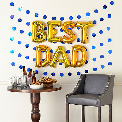 Air-Filled Gold & Blue Best Dad Foil Balloon Phrase Banner Kit, 13in Letters, 13pc Image #1