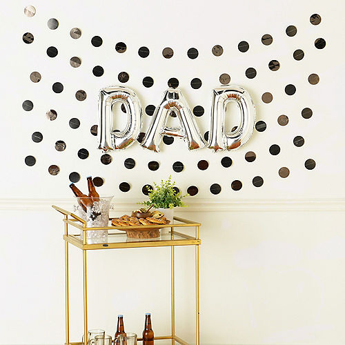 DIY Air-Filled Silver & Black Dad Balloon Phrase Banner Kit, 13in Letters, 9pc Image #1