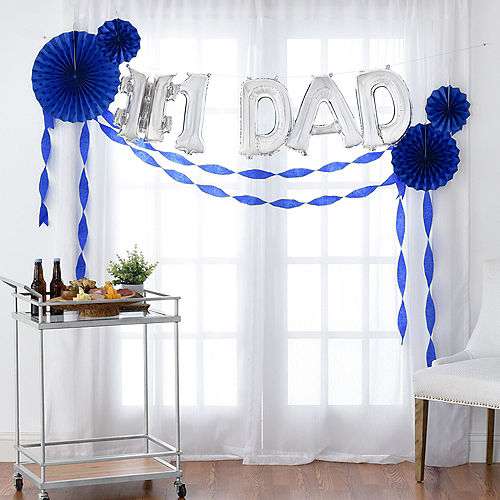 DIY Air-Filled Silver & Blue Number 1 Dad Balloon Phrase Banner Kit, 13in Letters, 10pc Image #1