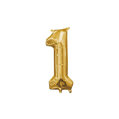 DIY Air-Filled Gold & Blue Number 1 Dad Balloon Phrase Banner Kit, 13in Letters, 10pc Image #5