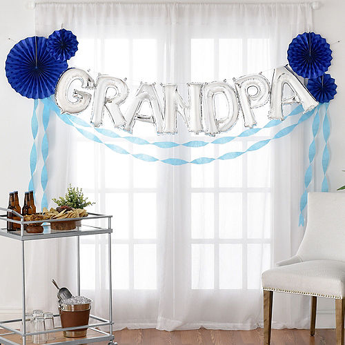 DIY Air-Filled Silver & Blue Grandpa Balloon Phrase Banner Kit, 13in Letters, 16pc Image #1