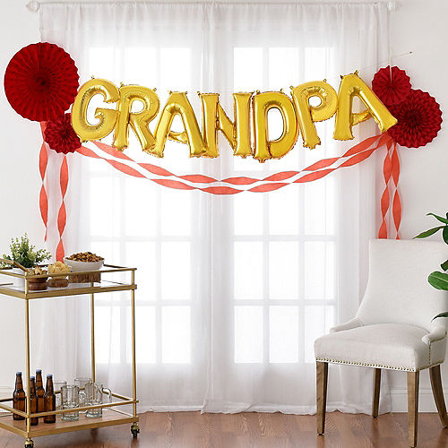 DIY Air-Filled Gold & Red Grandpa Balloon Phrase Banner Kit, 13in Letters, 16pc Image #1