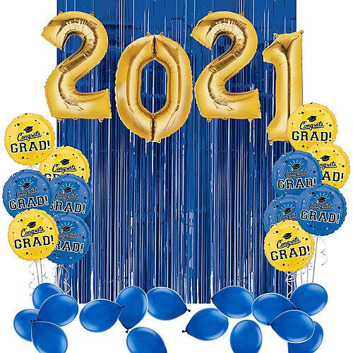 DIY Blue & Yellow Graduation Balloon Backdrop Kit, 33pc Image #1