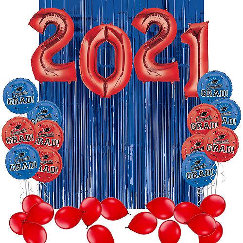 DIY Blue & Red Graduation Balloon Backdrop Kit, 33pc Image #1