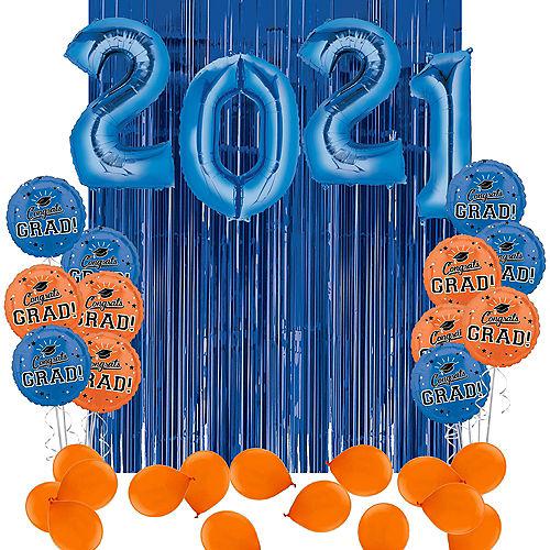 DIY Blue & Orange Graduation Balloon Backdrop Kit, 33pc Image #1