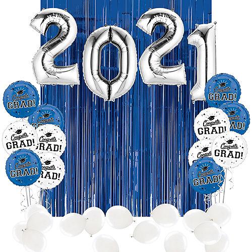 DIY Blue & White Graduation Balloon Backdrop Kit, 33pc Image #1