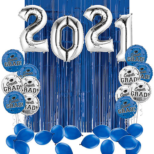 DIY Blue & Silver Graduation Balloon Backdrop Kit, 33pc Image #1