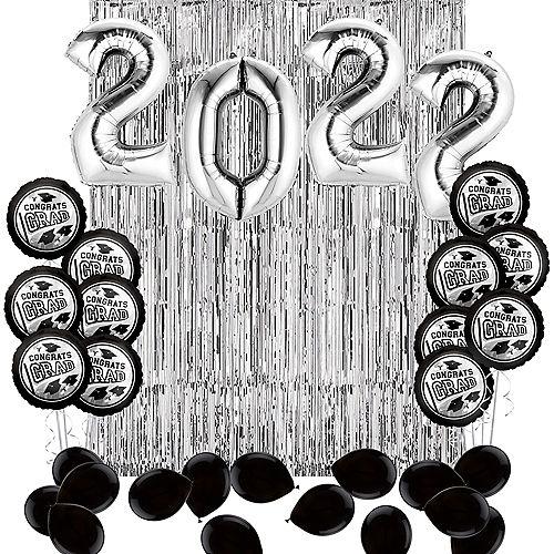 DIY Silver Graduation Balloon Backdrop Kit, 33pc Image #1