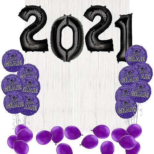 DIY Purple Graduation Balloon Backdrop Kit, 33pc Image #1