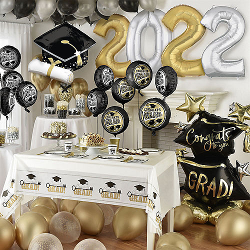 Deluxe DIY Black, Silver & Gold Graduation Balloon Room Decorating Kit, 64pc Image #1