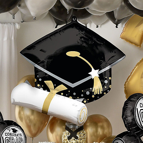 Deluxe DIY Black, Silver & Gold Graduation Balloon Room Decorating Kit, 64pc Image #3