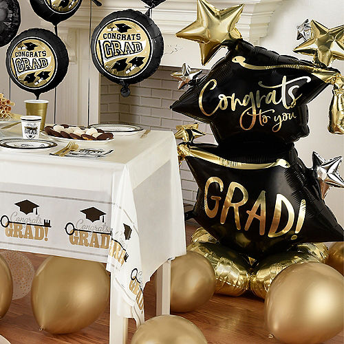 Deluxe DIY Black, Silver & Gold Graduation Balloon Room Decorating Kit, 64pc Image #4