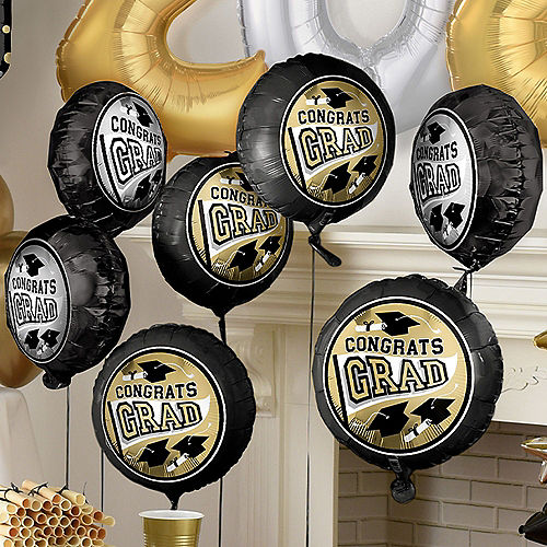 Nav Item for Deluxe DIY Black, Silver & Gold Graduation Balloon Room Decorating Kit, 64pc Image #5