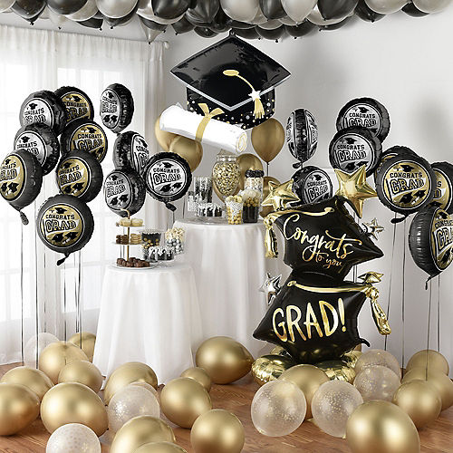 Nav Item for Grand DIY Black, Silver & Gold Graduation Balloon Room Decorating Kit, 56pc Image #1