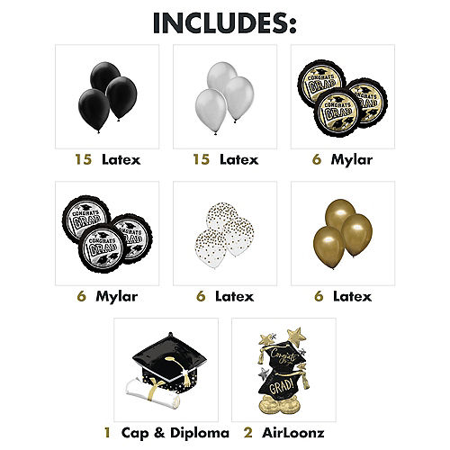 Nav Item for Grand DIY Black, Silver & Gold Graduation Balloon Room Decorating Kit, 56pc Image #2