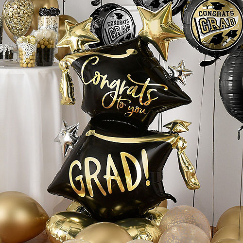 Nav Item for Grand DIY Black, Silver & Gold Graduation Balloon Room Decorating Kit, 56pc Image #4