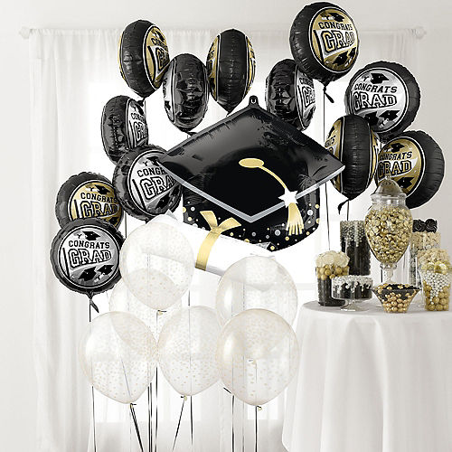 DIY Black, Silver & Gold Graduation Balloon Room Decorating Kit, 20pc Image #1