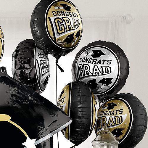 DIY Black, Silver & Gold Graduation Balloon Room Decorating Kit, 20pc Image #4