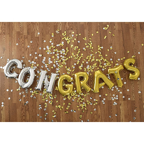DIY Air-Filled Gold & Silver Congrats Balloon Phrase Banner, 13in Letters, 8pc Image #1