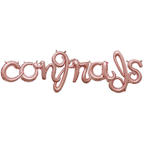 DIY Air-Filled Rose Gold Congrads Cursive Balloon Phrase Banner, 8pc Image #1
