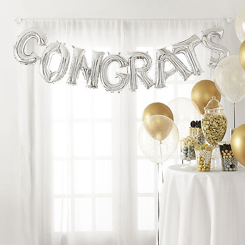 DIY Air-Filled Silver Congrats Balloon Phrase Banner, 13in Letters, 8pc Image #1