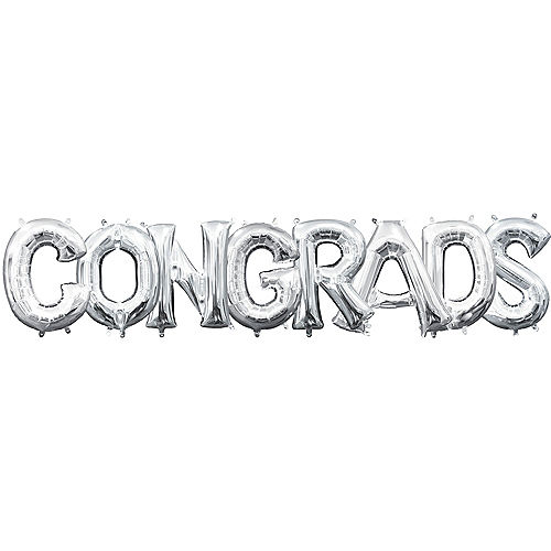 DIY Air-Filled Silver Congrads Balloon Phrase Banner, 13in Letters, 8pc Image #1