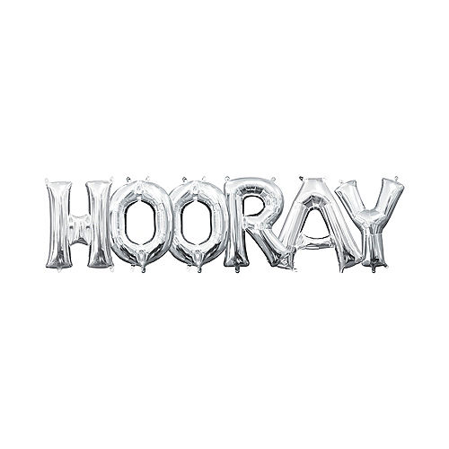 DIY Air-Filled Silver Hooray Balloon Phrase Banner, 13in Letters, 6pc Image #1
