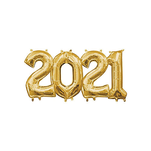 DIY Air-Filled Gold 2021 Balloon Year Banner, 13in Letters, 4pc Image #1