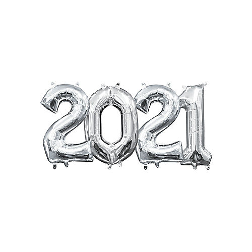 DIY Air-Filled Silver 2021 Balloon Year Banner, 13in Letters, 4pc Image #1