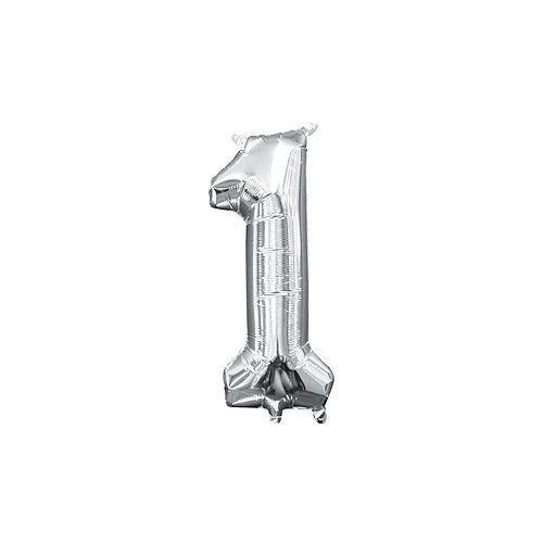 DIY Air-Filled Silver 2021 Balloon Year Banner, 13in Letters, 4pc Image #4