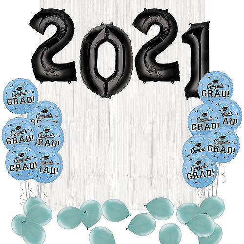 DIY Light Blue Graduation Balloon Backdrop Kit, 33pc Image #1