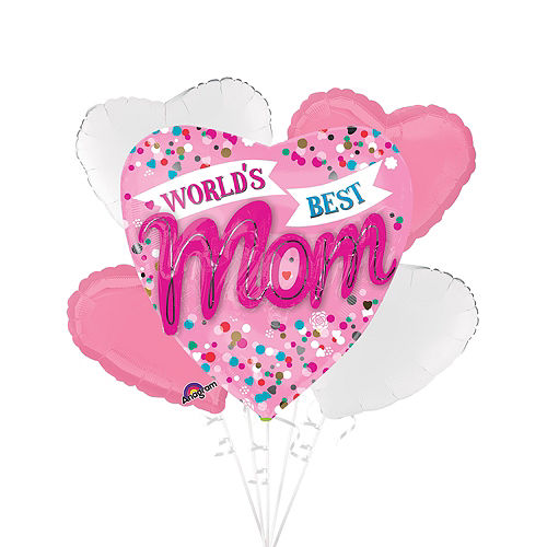 Nav Item for Blue & Pink World's Best Mom Heart Balloon Bouquet, 5pc Image #1