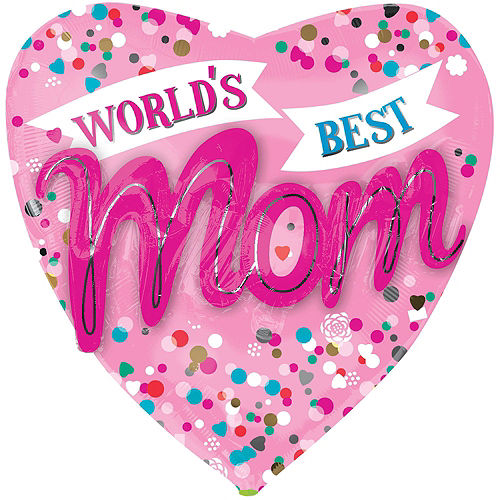 Nav Item for Blue & Pink World's Best Mom Heart Balloon Bouquet, 5pc Image #2