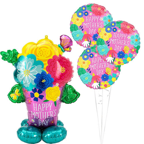 AirLoonz Pretty Flowerpot Mother's Day Balloon Kit, 4pc Image #1