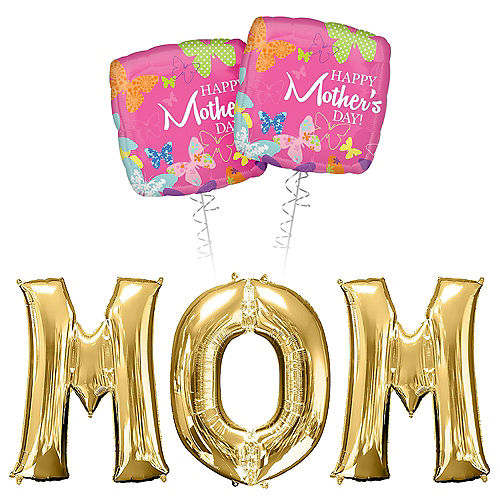 Gold & Pink Butterfly Happy Mother's Day Mom Balloon Bouquet, 5pc Image #1