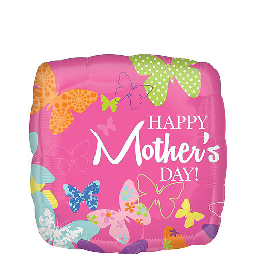 Gold & Pink Butterfly Happy Mother's Day Mom Balloon Bouquet, 5pc Image #2