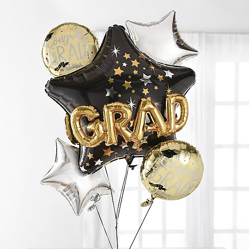 Nav Item for Black, Silver & Gold Grad Star Balloon Bouquet, 5pc Image #1