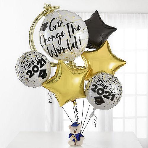 Change the World Balloon Bouquet & Teddy Bear Graduation Gift Kit, 7pc Image #1