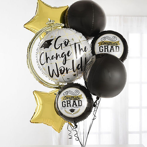 Congrats Grad Cap Balloon Bouquet & Autograph Dog Plush Graduation Gift Kit, 6pc Image #1
