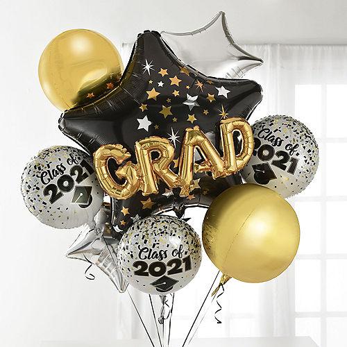 Congrats Grad Cap Deluxe Balloon Bouquet, 7pc Image #1