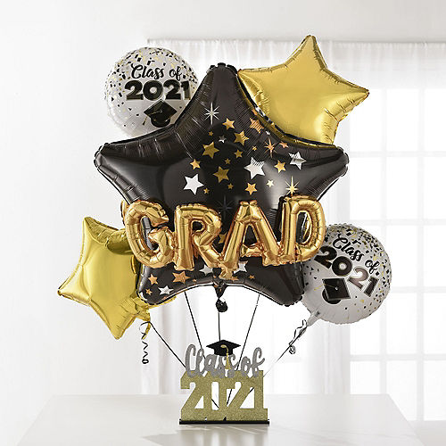 Class of 2021 Star Graduation Deluxe Balloon Bouquet, 8pc Image #1