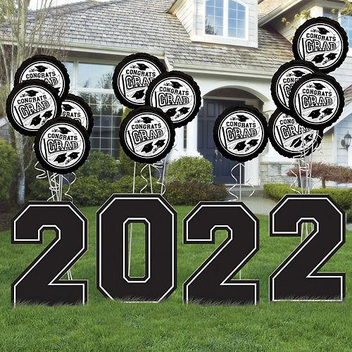 Black & White 2021 Graduation Balloon & Yard Sign Kit, 16pc Image #1