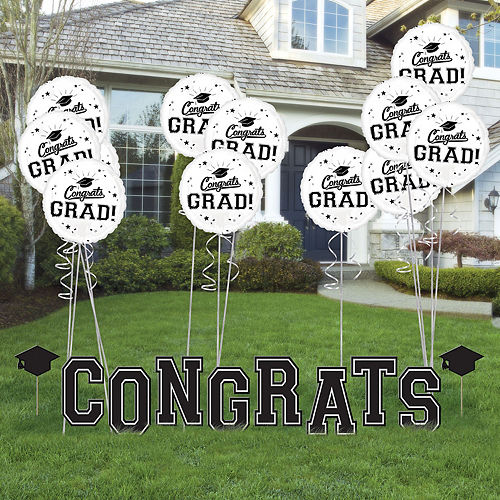 Black & White Congrats Graduation Balloon & Yard Sign Kit, 22pc Image #1
