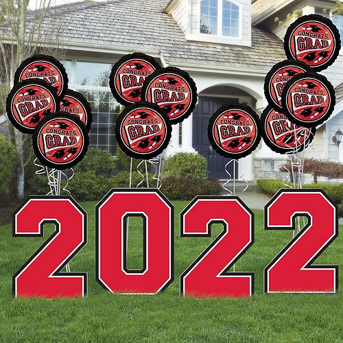 Red 2021 Graduation Balloon & Yard Sign Kit, 16pc Image #1