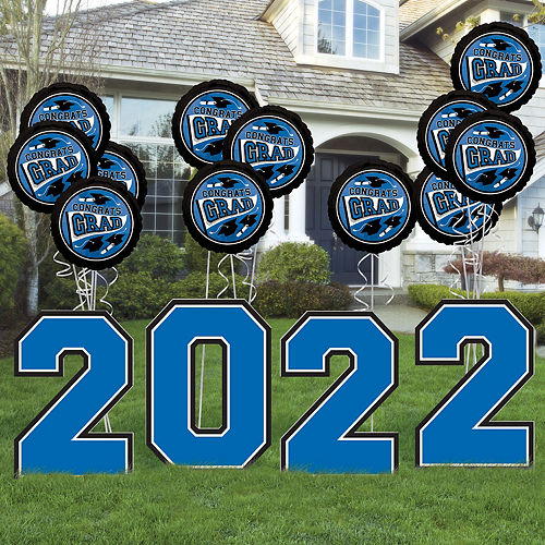Blue 2021 Graduation Balloon & Yard Sign Kit, 16pc Image #1
