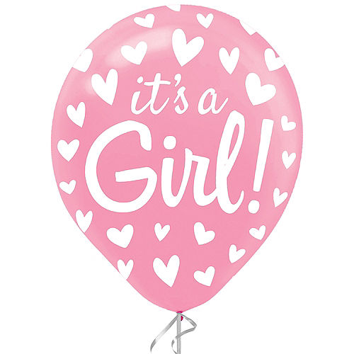 Pink It's A Girl Heart Gender Reveal Latex Balloon, 12in, 1ct Image #1