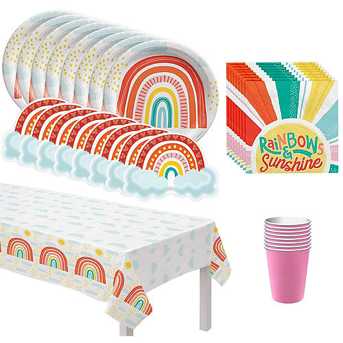 Retro Rainbow Basic Tableware Kit for 8 Guests Image #1